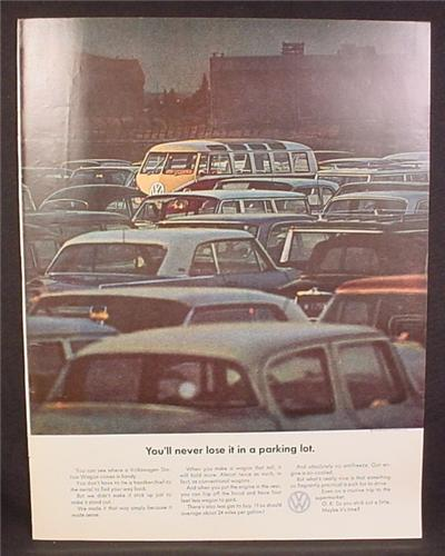Magazine Ad for Volkswagen Station Wagon Van, You'll Never Lose It In A Parking Lot, 1964