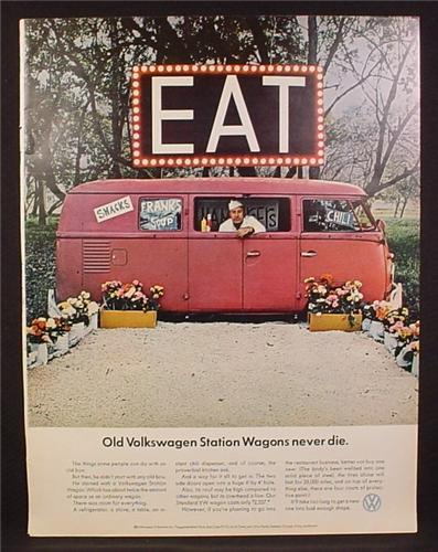 Magazine Ad for Volkswagen Station Wagon, Turned Into A Diner, Never Die, 1966