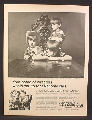 Magazine Ad for National Car Rental, S&H Green Stamps, Boys of The Board, 1966