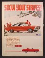 Magazine Ad for Ford Fairlane GTA Car, Red with White Stripe, Side View, Ski Slopes, 1967