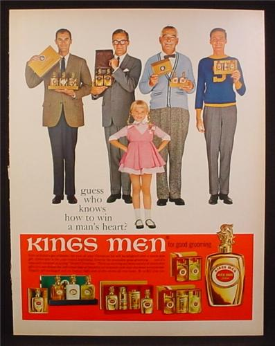 Magazine Ad for Kings Men Fragrances, After Shave, Little Girl Knows How to Win A Man's Heart