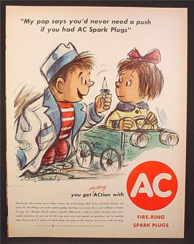 Magazine Ad for AC Fire-Ring Spark Plugs, Cartoon Kids with Push Car, 1961