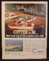 Magazine Ad for Brunswick Cutter Boats, Ensign Tornado Ski-Fair Scamp, 1961