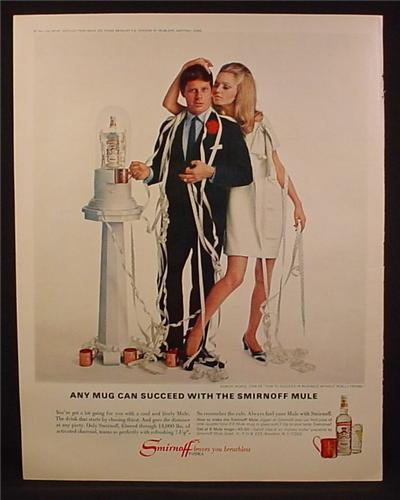 Magazine Ad for Smirnoff Mule Vodka, Man & Woman with Ticker Tape Machine, 1967