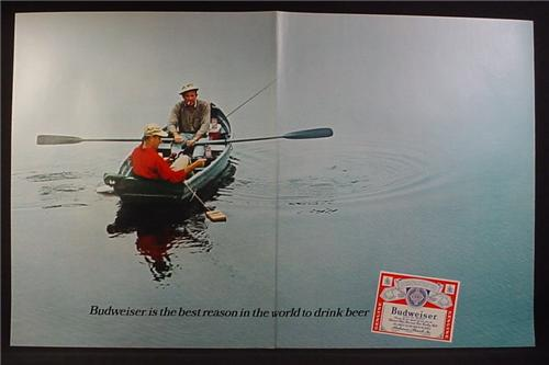 Magazine Ad for Budweiser Beer, 2 Men Fishing From a Row Boat, 1967, Double Page Ad