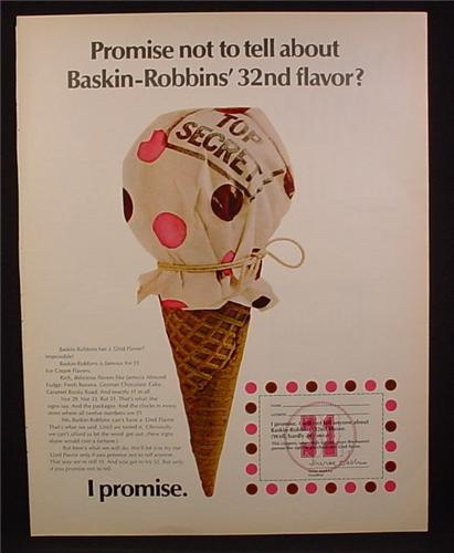 Magazine Ad for Baskin-Robbins Top Secret Ice Cream 32nd Flavor, Promise Not To Tell, 1970