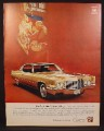 Magazine Ad for Cadillac Coupe De Ville Car, Gold, Front & Side View, 1970