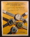 Magazine Ad for Bulova Caravelle Instant Set Calendar Watches, 1970
