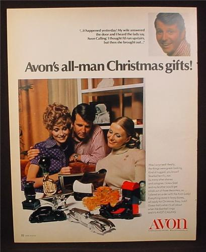 Magazine Ad for Avon All-Man Christmas Gifts, Collectible Decanters, 1970