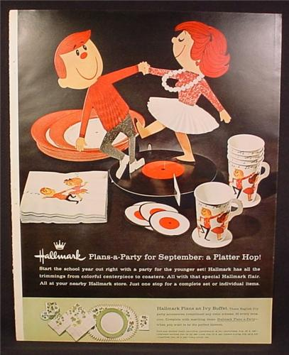Magazine Ad For Hallmark Plans-A-Party Sets, Platter Hop, Ivy Buffet, Plans A Party, 1961