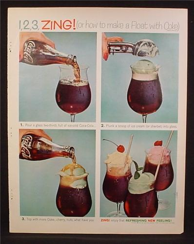 Magazine Ad For Coke Coca-Cola, 1 2 3 Zing, How To Make A Float With Coke, 1961
