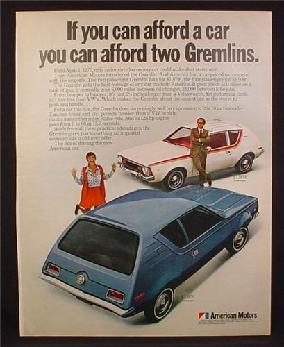 Magazine Ad For American Motors Gremlin Cars, 2 & 4 Passenger, 1970