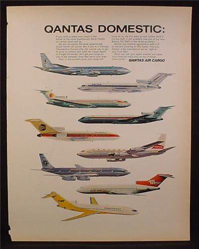 Magazine Ad For Qantas Air Cargo, Jets from 9 Domestic Carriers, 1968