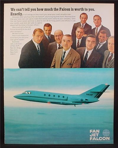 Magazine Ad For Fan Jet Falcon Airplane, Pan Am, 1968