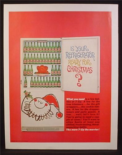 Magazine Ad For 7UP Seven-Up, Rows of Bottles in Fridge, Ready for Christmas, 1963
