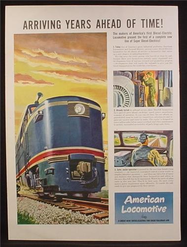 Magazine Ad For American Locomotive, First Alco-GE Diesel Electric Train Engine, 1946