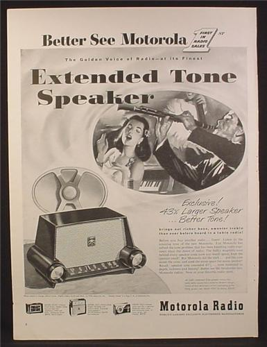 Magazine Ad For Motorola Extended Tone Speaker Radio, Woman Singing, 1953