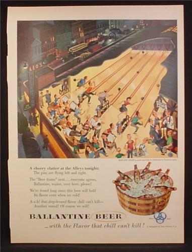 Magazine Ad For Ballantine Beer, Bottle in Tub, Illustration People Bowling Frederick Siebel, 1953