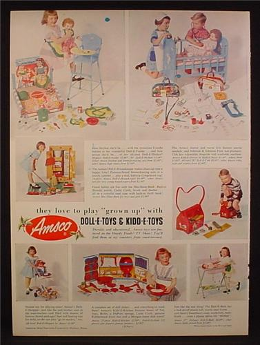 Magazine Ad For Amsco Doll-E-Toys & Kidd-E-Toys, 7 Toys Sets, 1953