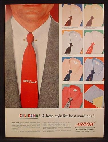 Magazine Ad For Arrow Shirts, Colorama Colored Men's Shirts & Ties, 1953