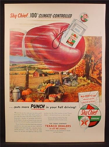 Magazine Ad For Texaco Sky Chief Gasoline, Gas Pump in Boxing Glove, More Punch, 1953
