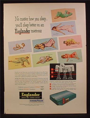Magazine Ad For Englander Mattresses, Mattress, Different Positions That People Sleep In, 1953