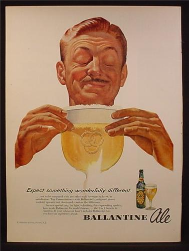 Magazine Ad For Ballantine Ale, Beer, Man with Giant Glass of Beer, 1953