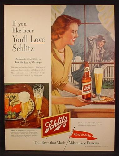Magazine Ad For Schlitz Beer, Wife Waiting for Husband with Beer on Tray, 1953