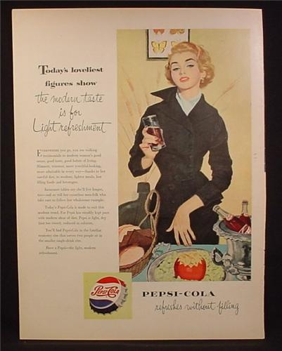 Magazine Ad For Pepsi Pepsi-Cola, Woman in Black Outfit with Glass, Bottles Ice Bucket, 1953