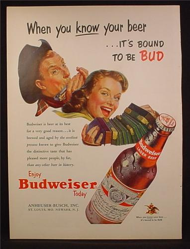 Magazine Ad For Budweiser Lager Beer, Man & Woman Playing Harmonica & Accordion, 1953