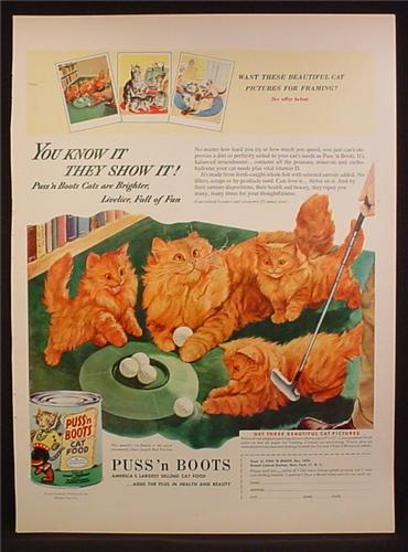 Magazine Ad For Puss 'N Boots Cat Food, Cat & Kitten Playing with Golf Balls, 1953