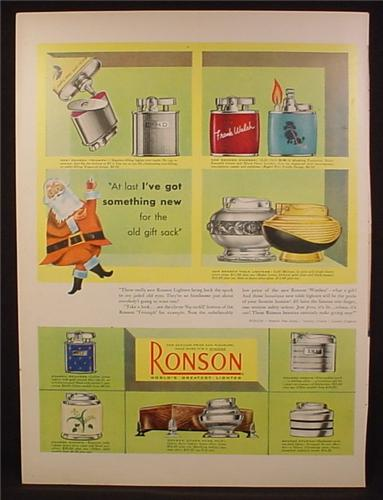 Magazine Ad For Ronson Lighters, 8 Models Pictured, Queen Anne, Table, Windsor, 1953