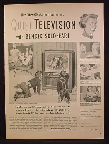 Magazine Ad For Bendix Solo-Ear Headphones, Kids Watching TV with Headphones, 1953