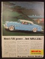 Magazine Ad For Buick Special Car, Blue & White, Side View, Going Up a Hill, 1954