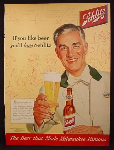 Magazine Ad For Schlitz Beer, Bartender in White Coat with Green Collar, 1954