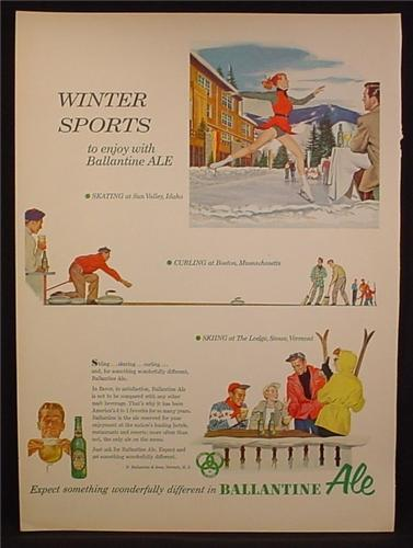 Magazine Ad For Ballantine ale, Beer, Winter Sports, Figure Skater, Curling, Skiing, 1954
