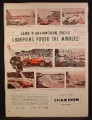 Magazine Ad For Champion Spark Plugs, Racing Cars, Le Mans, Grand Prix, Sebring, 1954
