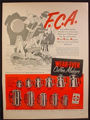 Magazine Ad For Wear-Ever Coffee Makers, Pots, 11 Models Pictured, Wear Ever, 1954