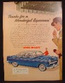 Magazine Ad For Aero Willys Car, Blue Front & Side View, Wonderful Experience, 1954