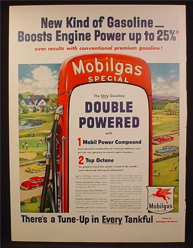 Magazine Ad For Mobilgas Special Gasoline, Large Gas Pump, Tune Up In Every Tankful, 1954