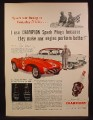 Magazine Ad For Champion Spark Plugs, Jim Kimberly Race Driver, 4.5 Ferrari, 1954