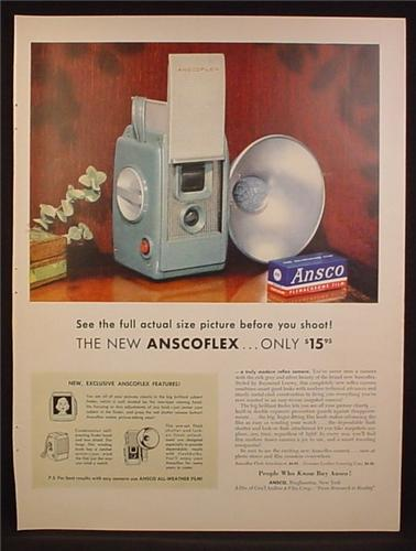 Magazine Ad For Ansco Anscoflex Reflex Camera, See The Picture Before You Shoot, 1954