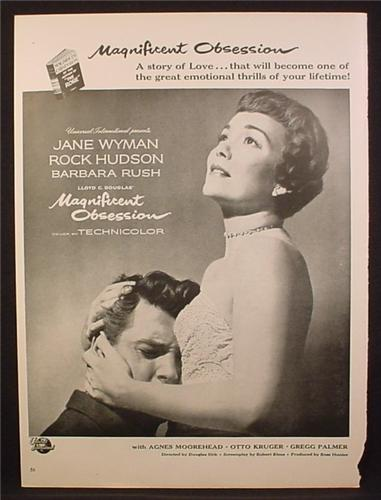 Magazine Ad For Magnificent Obsession Movie, Jane Wyman, Rock Hudson, Poster, 1954
