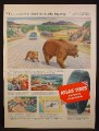 Magazine Ad For Atlas Tires, Alaska Highway, Bear & Cub Illustration by Robert Moore, 1954