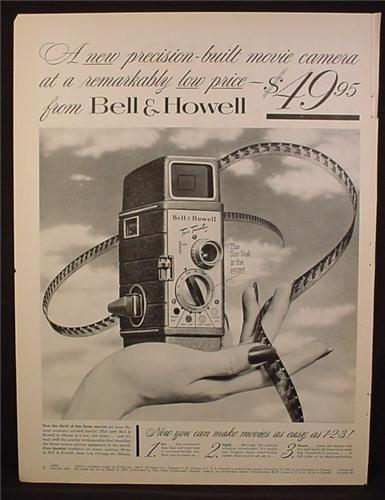 Magazine Ad For Bell & Howell Two Twenty Movie Camera, 8MM, Film Strip, 1954