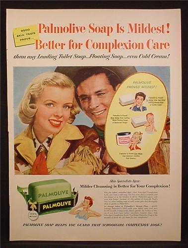 Magazine Ad For Palmolive Soap, Green Bar, Cowboy & Cowgirl, 1954