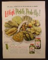 Magazine Ad For Libby's Pickle Perk-Up, Jars, Pickle in Chef Hat, Libbys, 8 Kinds of Pickles, 1954