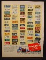 Magazine Ad For Atlas Tires, 60 License Plates from 48 States & 12 Canadian Provinces, 1954