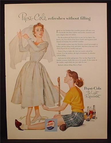 Magazine Ad For Pepsi Pepsi-Cola, Sister Helping with Wedding Dress, Modern Girl, 1954