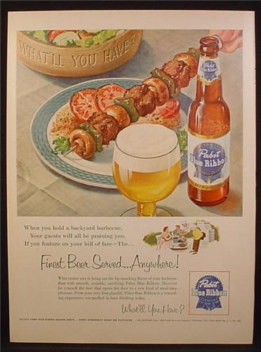Magazine Ad For Pabst Blue Ribbon Beer, Shish-Ka-Bob, Bottle & Glass, 1954